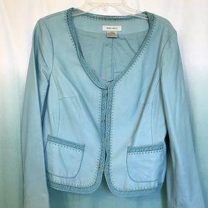 Nine West light blue leather jacket crochet trim L